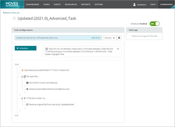 MOVEit Automation 2021 Advanced Tasks Layout