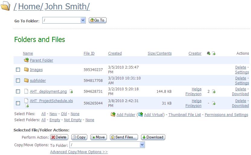 Web Interface - Folders - File List