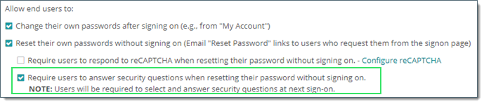 Security Questions and Answers MOVEit Transfer